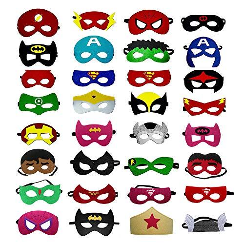OCMCMO 32 Piezas Máscaras de Superhéroe Máscara,Juguetes para Niños y Niñas , Máscaras para Niños, Kit de Valor de Cosplay de diseño de Fiesta de cumpleaños de Navidad - 32 * Máscaras