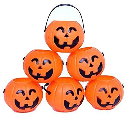 TOOGOO(R) Kuerbis Suessigkeitshalter 12 Mini Suesses oder Saures Halloween Suessigkeiten Eimer: Orange