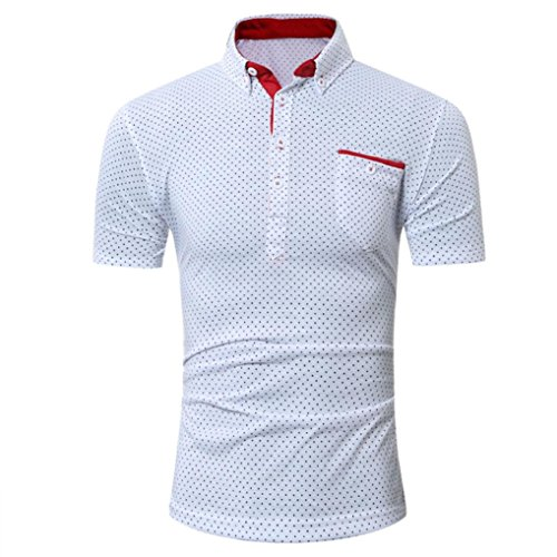 Polo Sport T-Shirt pour Homme,Covermason Homme Polo Shirts Manche Courte Casual T-Shirt Mode Mince Fit Chemise Tee Tops (Blanc, M)