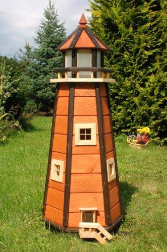 Wunderschöner großer Leuchtturm aus Holz mit SOLAR Beleuchtung LED