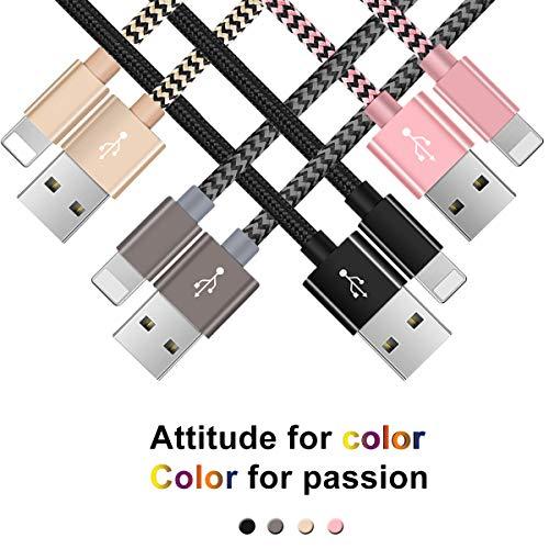 Cable Phone- Zeuste Cargador Phone [4PACK 2M+1.5M+1.5M+1M] de Nylon Trenzado Cable USB Compatible con Phone XS/XR/X/8/8 Plus/7/6s/6Plus/6/Pad/Pod y más(Black+Gris+Pink+Gold)