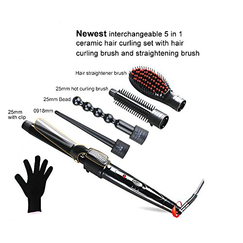 GAOLIXIA Curling Tongs 5 IN 1 Hair Curlers Set with 5 Interchangeable Tourmaline Ceramic Hair Curling Wand Iron, and Small to Large Barrel Curling Tong for All Hair Types