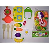 Siddhi Vinayak™ Lovely Attractive Color Full Non Toxic Fruit And Vegetable Set With Kitchen Toys For Kids And Toodler In 13 Piece