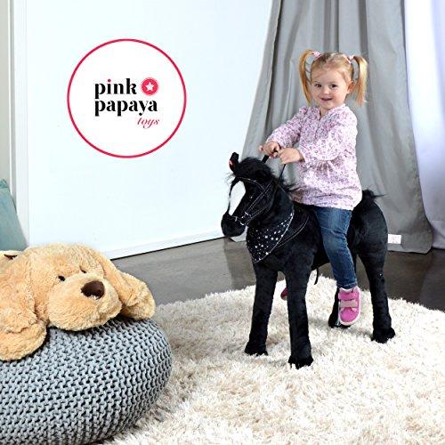 Plüschpferd XXL 75 cm – Stehpferd Polly – fast lebensgroßes Spielpferd zum drauf sitzen bis 100 kg belastbar, mit verschiedenen Sounds, Spielzeug Pferd zum Träumen von Pink Papaya Toys - 6
