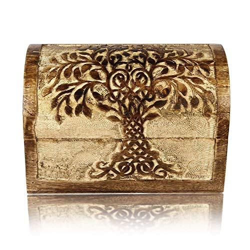 Birthday Gift Ideas Handmade Decorative Wooden Jewellery Box With Tree Of Life Carvings Jewellery Organizer Keepsake Box Treasure Chest Trinket Holder Lock Box Watch Box 9 x 6 Inch Anniversary Gifts