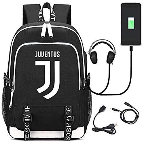 DDPP Zaino USB Calcio Zaino Juventus Zaino Borsa da Studente Borsa Moda,Nero