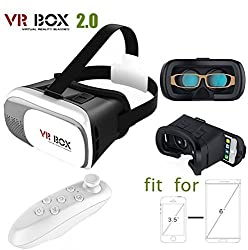 Captcha VR Box 2nd Generation Enhanced Version Virtual Augmented Reality Cardboard 3D Video Glasses Headset with Bluetooth Remote Control For iPhone 6S 6 Plus SE 5S 5 Samsung Galaxy S7 Edge Plus S6 S5 S4 Note 5/4/3/2- 4.7-6.0 Cellphone Mobile Phones - White