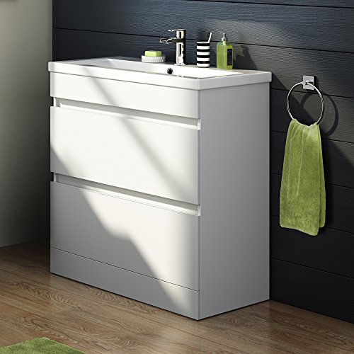 white gloss bathroom unit 800mm white gloss vanity sink unit ceramic basin bathroom 21543