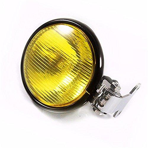 5 zoll Motorrad Scheinwerfer Kopf Lampe Licht für Cafe Racer Vintage Retro Bobber CB Alte Schule Benutzerdefinierte (Schwarz/Bernstein) -