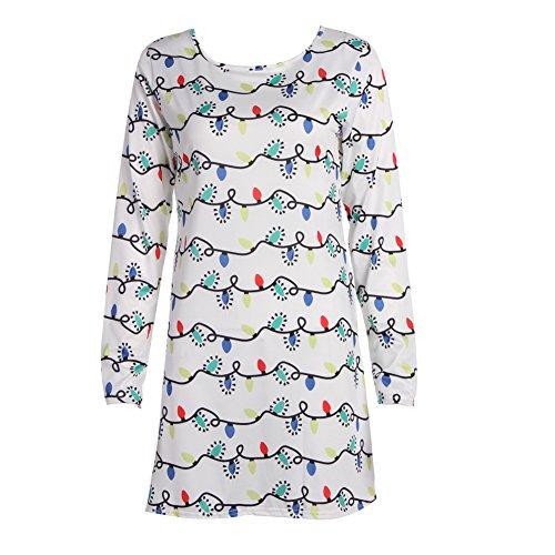 La Cabina Femme Sexy Mini Robe T-Shirt + Manche Longue Confortable pour été Printemps Blanc