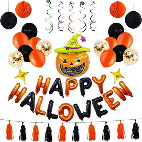 BESTOYARD Halloween Dekorationen Set Folie Latex Konfetti Ballons Wabenbälle Streamer hängen Quasten