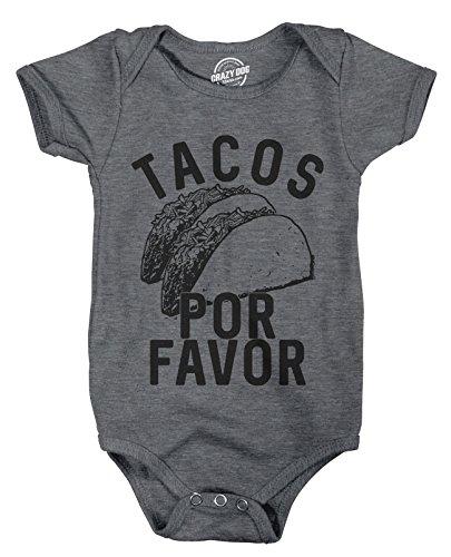 Crazy Dog Tshirts - Creeper Tacos Por Favor Funny Cinco De Mayo Bodysuit for Newborn Baby (Dark Heather Grey) - 6 Months - Baby-Jungen - 6 Months