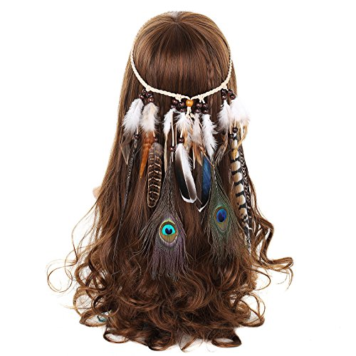 Kostüm Pocahontas - AWAYTR Damen Hippie Boho Indianer Stirnband Feder Stirnbänder für Abendkleider Halloween Karneval(Pfau und Natürlich Fasan Feder Stirnband)