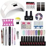 Saint-Acior UV Gel set Gellack Maniküre Starterset 48W UV LED Nagelgel Set für gelnägel Nagelstudio Set