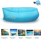 ** NEUE VERSION ** Thicker & Longer - Lifeasy - Outdoor Wasserdicht Aufblasbare Air Sofa Couch Portable Kompression Schlaf-Liege für Camping, Strand, Park, Hinterhof - Blau