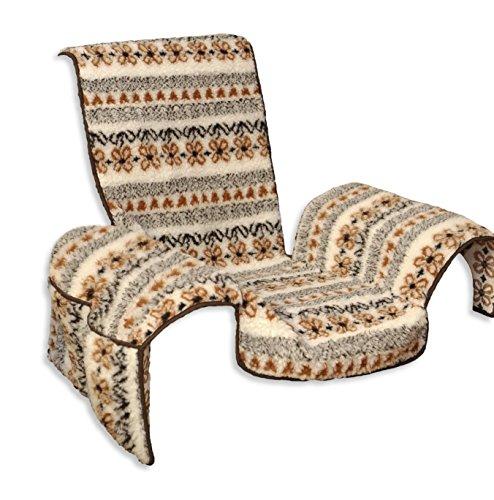 Sesselschoner Lammflor gemustert mit Taschen Sessel Überwurf mit Armlehnen Sesselauflage ca. 147x147 cm