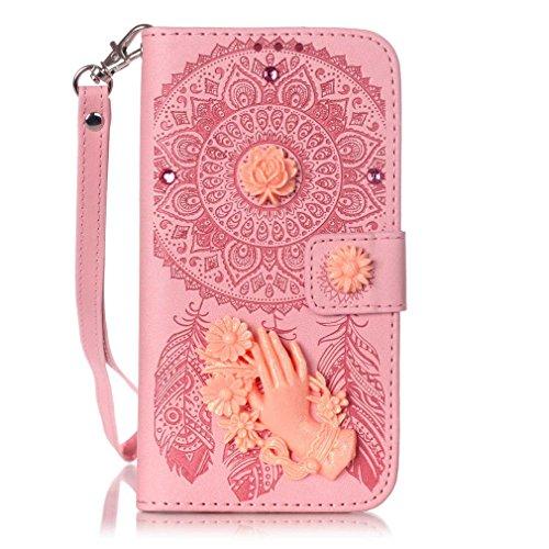 SZHTSWU Hülle für iPhone 6 6S, Magnetverschluss Campanula Intarsien Bling Kristall Glitzer Hand Strasssteine Strass Diamant mit Lanyard Strap Design PU Leder Tasche Weiche Silikon Schutzhülle Flip Hül Pink