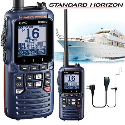 Standard Horizon HX890E Class H DSC Handheld VHF Marine Radio mit GPS - Blau + Comteclogic® CM-50PT Sicherheits-Headset (Marine-vhf-radio Horizon Standard)