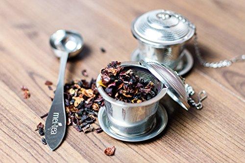 meitea - Tee-Ei Edelstahl Teefilter (2er Set) mit Abtropfschale und Teelöffel - hochwertiges Teesieb & Teekugel - 2