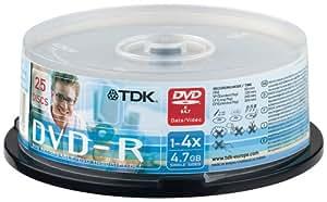 TDK DVD-R 25er Spindel 1-4x Speed 4,7GB DVD-Rohlinge