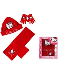 Conjunto de bufanda, gorro y guantes polares para niño, Niña, de Hello Kitty, rojos y grises, de 3a 9años