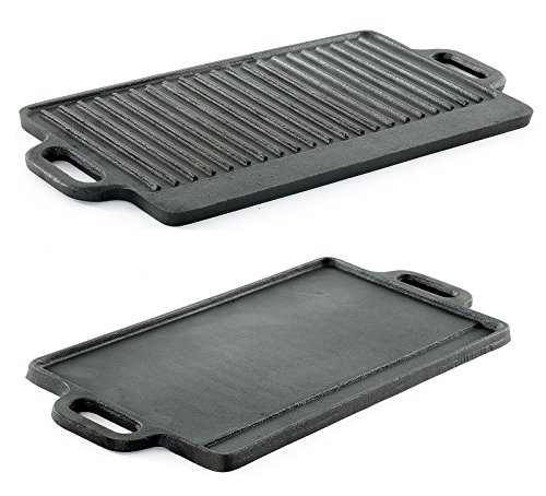 -1101-griddle Professional Heavy Duty Reversible Double Burner Cast Iron Grill Griddle, 20 by 9-Inch, Black by ProSource ()
