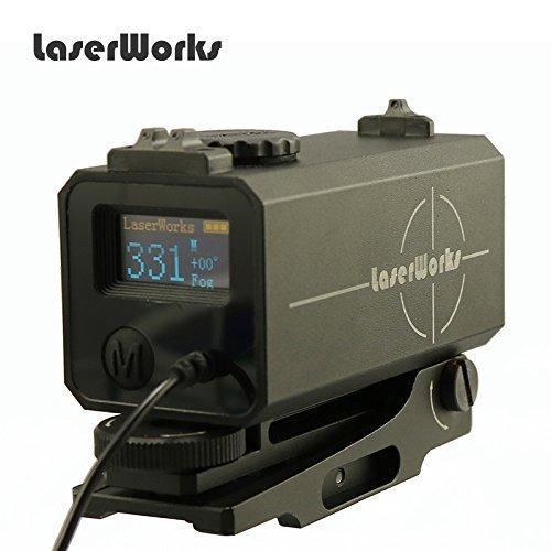 LaserWorks LE-032, mirino per fucile, con telemetro da 700 m, per caccia e tiro con l\'arco - Nero