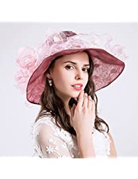 AJON Mujeres Visera Sombrero Disquete Playa Sombrero del Sol Nudo Mariposa  Decoración Borde Ancho Sombrero del dedde1768e4
