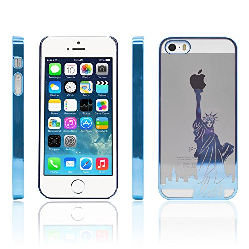 iProtect Schutzhülle Apple iPhone 5, 5s, SE Hülle Walking Dog Edition transparent pink Blau Freiheitsstatue