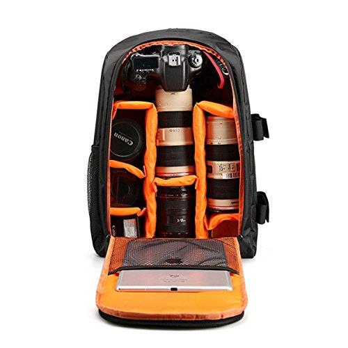 """VOSMEP 2017 Nuova DSLR Camera Bag - Borsa di grande capienza impermeabile multifunzione zaino in nylon professionale Fotografia con la copertura della pioggia - Può disporre 15.6 """"Computer per DSLR Canon Nikon Sony EOS e più (Nero con Orange) DC136"""