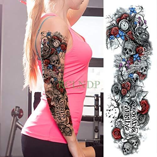 HXMAN Wasserdichte Temporäre Tattoo Aufkleber Voller Arm Big Old School Cool Girl Tatto Ärmel Flash Tatoo Fake Tattoo Für Männer purpurn