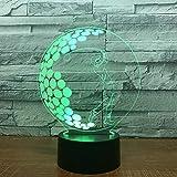 Luce notturna per bambini a LED 3D, gioco di golf Lampada 3D 7 colori Night Touch Dormire per uomini d'affari Negozio di articoli da regalo Lampada da tavolo a LED 3D Lampada per bambini 3D