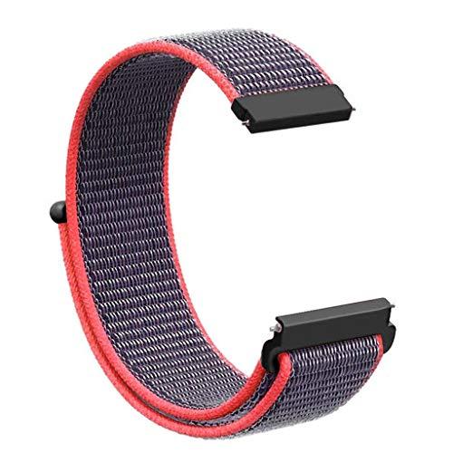 Knowin Uhrenarmband Klettverschluss aus Nylon Ersatz Sport Loop Handgelenk Band Strap für Huawei Watch GT SmartWatch Kompatibel Armband Schnellverschluss - 22mm Nylon-loop-uhr-band