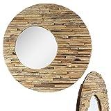 Runder Spiegel mit Rahmen aus Holzstücken Sonne Massiv Holzrahmen Wandspiegel großer Holz-Spiegel ca. 80 cm Ø Nr. 8
