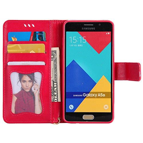 Custodia Galaxy A5 2016 - Cover per Samsung Galaxy A5 2016 - ISAKEN Fashion Agganciabile Luminosa Custodia con LED Lampeggiante PU Pelle Portafoglio Tinta Unita Cover Caso per Samsung A5 2016, Luxury  Roseo