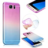 Galaxy S7 Edge Transparent Coque,MingKun Samsung Galaxy S7 Edge Etui de Protection Transparente Case Cover par Samsung Galaxy S7 Edge Brillant Antichoc avec Cadre Résistant Housse par Samsung Galaxy S7 Edge TPU à gradient Bicolore