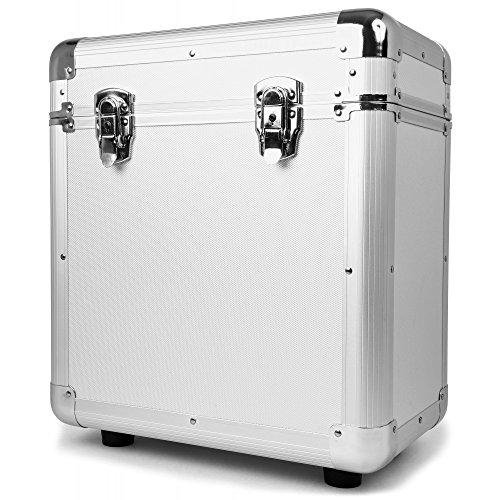 Power Dynamics RC80 Tragbarer Vinyl-Koffer (für 80 LPs mit 12 Zoll / 30,5 cm, Schaumstoff-Innenrahmen, leicht) Schwarz 80 Silberscheiben