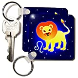 3dRose Cute Astrology Leo Zodiac Sign Lion - Key Chains