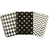 Invero® 3x Set de A5 Decorative Metallic Wirebound Notepad livre idéal pour la maison, bureau ou Retour à l'école - 240 Pages