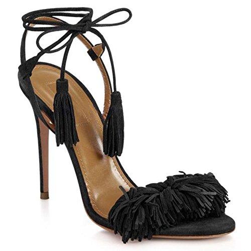 uBeauty Damen Stilettos High Heels Tassel Sling Back Sandalen Knöchelriemchen Open Toe Schnüren Übergröße Schuhe Schwarz Wildleder