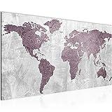 Bilder Weltkarte World Map Wandbild Vlies - Leinwand Bild XXL Format Wandbilder Wohnzimmer Wohnung Deko Kunstdrucke Rosa Grau 1 Teilig - MADE IN GERMANY - Fertig zum Aufhängen 104312a