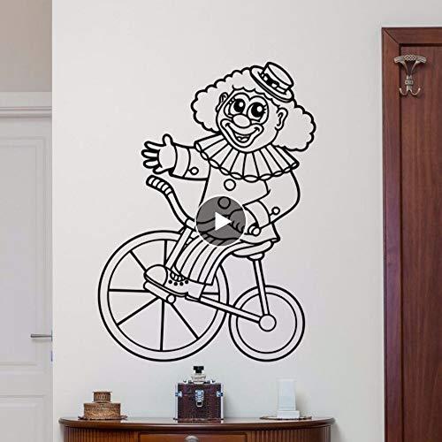 Dwqlx Zirkus Clown Wandtattoo Abnehmbare Zirkus Clown Bike Wandaufkleber Kinderzimmer Schlafzimmer Dekoration Cartoon Stil Wandkunst Wandbild 57 * 78 Cm