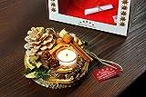 Oppacher Advent Kerzen-Tischgesteck Deluxe orange mit Geschenkverpackung Adventsgesteck Kerzenhalter Durchmesser circa 12-15 cm