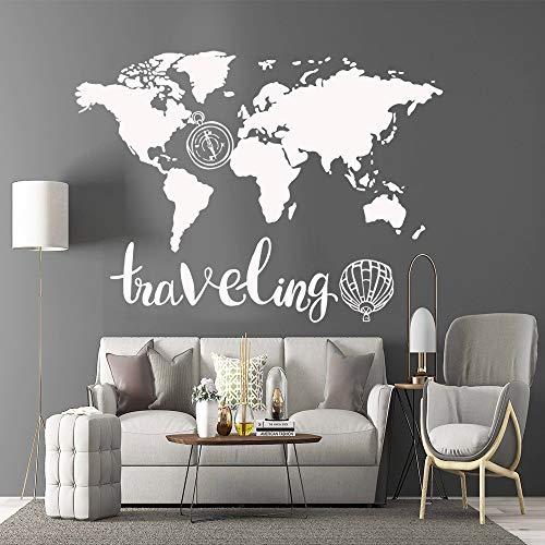 BFMBCH Lustige Weltkarte Wandaufkleber Vinyl Küche Wandtapete Wohnzimmer Schlafzimmer Wandkunst Wandaufkleber 57cm X 77cm