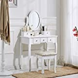 UEnjoy Dressing Table Makeup Desk with Stool 5 Drawers and Oval Mirror Bedroom