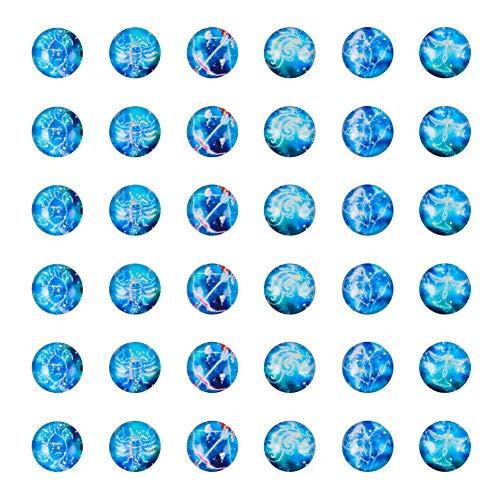 PandaHall 100 stücke 12mm Runde Konstellation Sternzeichen Muster Flatback Glaskuppel Cabochons Edelsteine für Foto Cameo Anhänger Schmuck Machen Handwerk Scrapbooking (Machen Sie Eine Halloween-fotos Online)