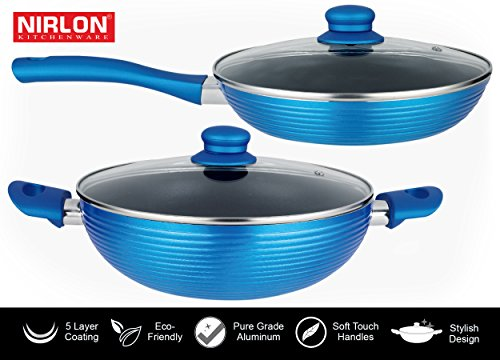 Nirlon The Rock Forged Aluminium Five Layer Non-Stick Coating Flat Bottom Induction Friendly Kitchen Cookware Set With Soft touch Handle | Flat Fry Pan 1.6ltr | Deep Karai 2.5ltr |  available at amazon for Rs.1617