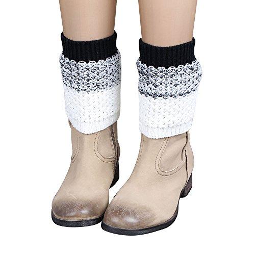 KPILP 1 Para Frauen Stulpen Jacquard Gestrickte Bein Bootssocken Winter Warmers Socken Boot Cover Winter Herbst Freizeitsocken Strumpfhose,Schwarz