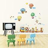 Decowall DA-1406 Zug und Heißluftballons Autos Flugzeuge Tiere Wandtattoo Wandsticker Wandaufkleber Wanddeko für Wohnzimmer Schlafzimmer Kinderzimmer Test