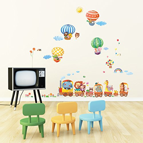 Decowall da 1406 treno con animali e mongolfiere adesivi - Stickers per camera da letto ...